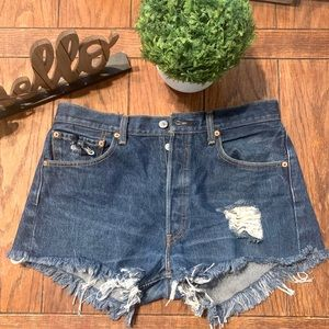 501 vintage Levis button fly cutoff shorts